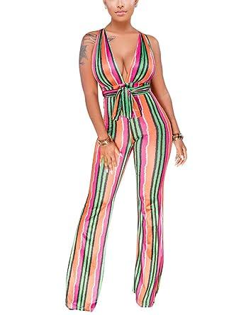 1fb55c148de0 Amazon.com  Women s Sleeveless Wide Leg Jumpsuits - Head Turner ...