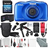 Nikon COOLPIX W100 Digital Camera (Blue) Deluxe Bundle with Xpix Cleaning Accessories + Floating Strap + 32 GB +Tripod + Reader + Battery & Charger + Case