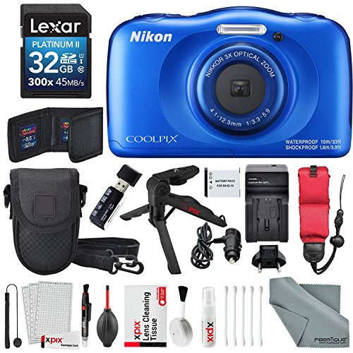 - Nikon COOLPIX W100 Digital Camera (Blue) Deluxe Bundle with Xpix Cleaning Accessories + Floating Strap + 32 GB +Tripod + Reader + Battery & Charger + Case