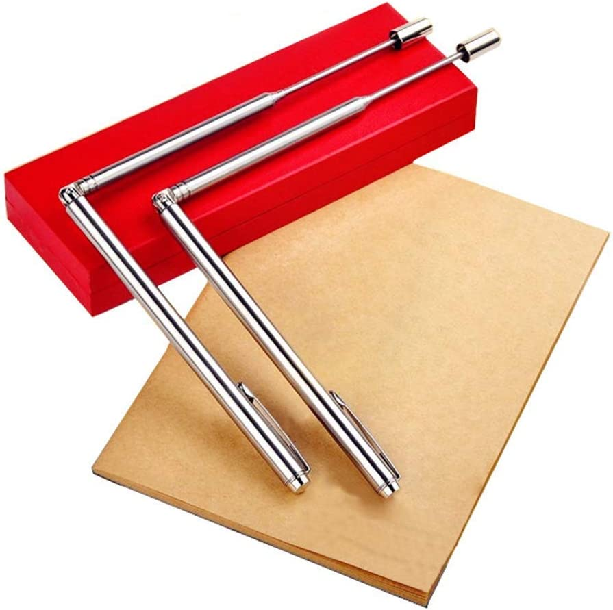 xiegons0 Stainless Steel Dowsing Rods,Water Detector Tool for Ghost Hunting,Divining Water,Gold Buried Items,Instructions and Bonus Pendulum,etc