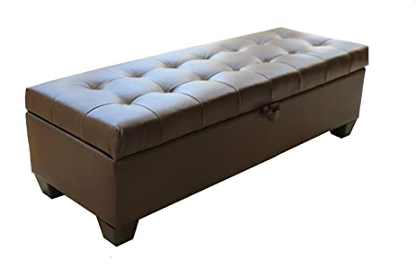 Brown Tufted Leather Storage Ottoman Bench