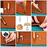 Auihiay 58 Pieces Leather Craft Tools Kit with Leather Sewing, Punching, Cutting, Edge Grinding, Grooving, Snap Fasteners and Rivets Tools for DIY Leather Craft