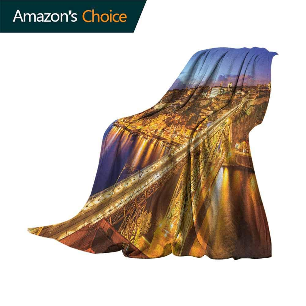City Bed Blanket,Porto Dom Luis Bridge at Night River Portuguese Coast Mediterranean View Microfiber All Season Blanket for Bed or Couch Multicolor,50'' Wx70 L Apricot Violet Blue