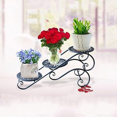 LRW Iron Art Flower Shelf Multi-Layer Indoor Space Saving Balcony Decoration Living Room Flower Pot Rack: Garden & Outdoor