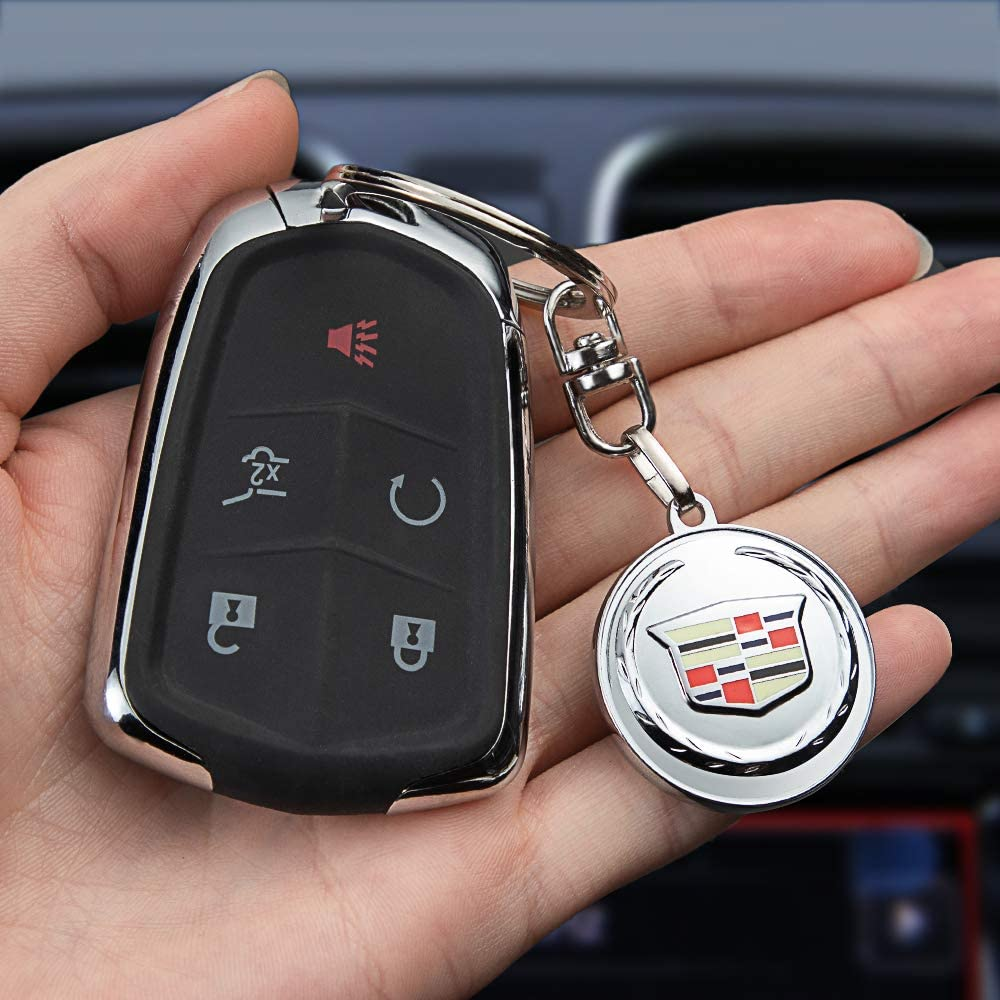 JIYUE Compatible for Cadillac Keychains 3D Car Logo Car Logo Keychain for Cadillac ATS CTS EXT SRX XTS XLR Sedan ELR Key Chain Keyring Accessories Keyring with Logo(1pcs)