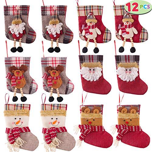 JOYIN Set of 12 Mini Christmas 3D Stockings Gift & Treat Bags for Christmas Tree Decoration