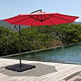 COBANA 10′ Offset Hanging Patio Umbrella Freestanding Outdoor Parasol Adjustable Market Umbrella, 250g/sqm Polyester, Red Review