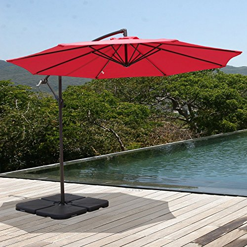 COBANA 10' Offset Hanging Patio Umbrella Freestanding Outdoor Parasol Adjustable Market Umbrella, 250g/sqm Polyester, Red