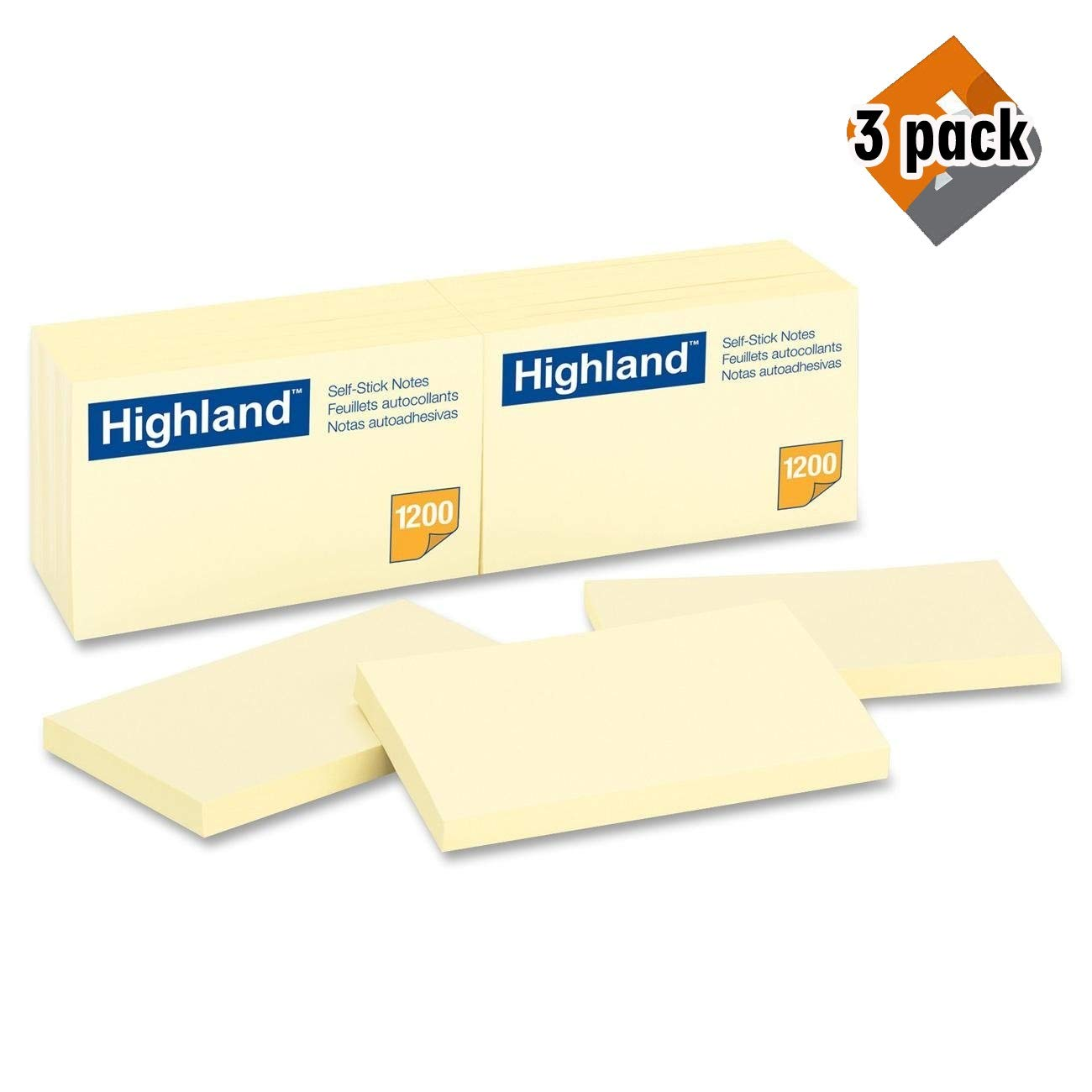 Highland Notes, 3 x 5-Inches, Yellow, 100 Count, Pack of 12 (6559) - 3 Pack by Highland