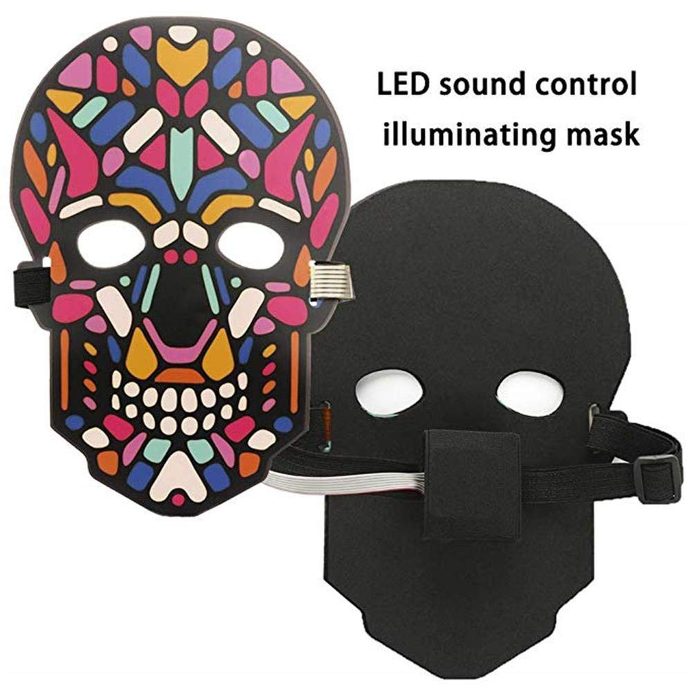 Unpara Halloween LED Mask Party Version Sound Reactive Dance Rave Light Up Adjustable Mask (E) by Unpara_mask (Image #5)