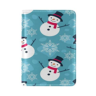 ALAZA Snowflake Snowman Christmas Leather Passport Holder Cover Case Travel One Pocket