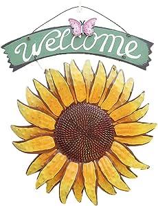 EASYBUY - Carteles de metal para colgar en el jardín, diseño de girasol, decoración exterior pintada a mano, placa de bienvenida para puerta delantera: Amazon.es: Hogar