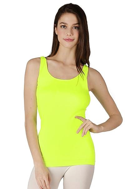 4e2c2e6bcc2eb NIKIBIKI Women Seamless Wide Strap Long Tank Top, One Size (Neon Yellow)