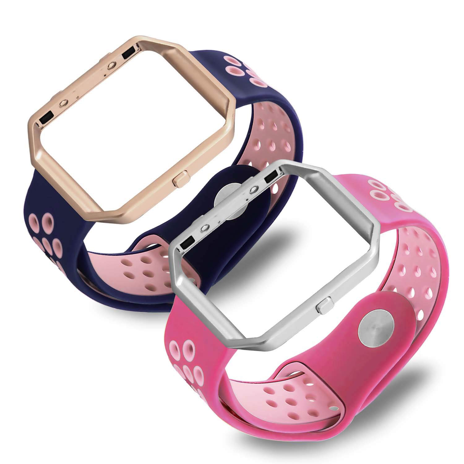 eseekgo for Fitbit Blazeバンド、スポーツシリコンストラップwith Frame for Fitbit Blaze Replacement Smart Watchリストバンド(トラッカーなし) Large Size (6.7\ Blue Band+Rose Gold Frame;Hot Pink Band+Silver Frame B076GJGMBK