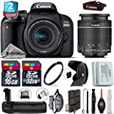 Canon EOS Rebel 800D/T7i Camera + 18-55mm IS STM Lens + Battery Grip + 2yr Extended Warranty + 32GB Class 10 Memory Card + Backup Battery + 16GB Class 10 + Wrist Strap - International Version
