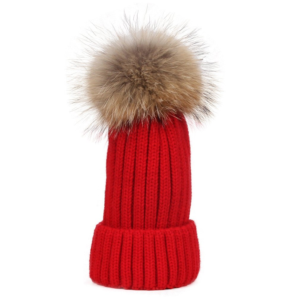 San Bodhi® Ladies Soft Cable Knit Ski Hat Cap with Detachable Faux Fur Pompom 7J180228XB4QJ5417