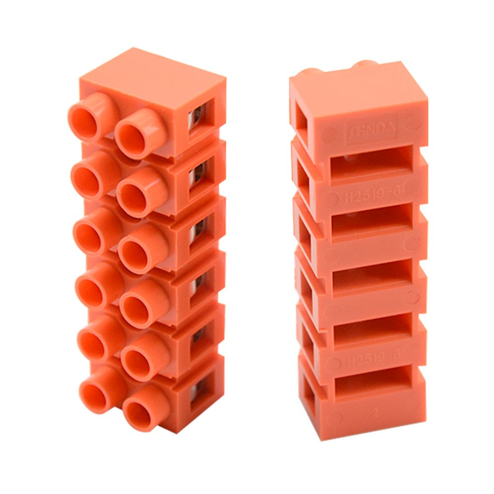 XLX 6Pcs 600V 36A 4 Position 5 Position 6 Position Double Row Screw Terminal Block Environmental Friendly Flame Retardant Nylon Terminal Barrier Block Connector For All Wide Use(Red)