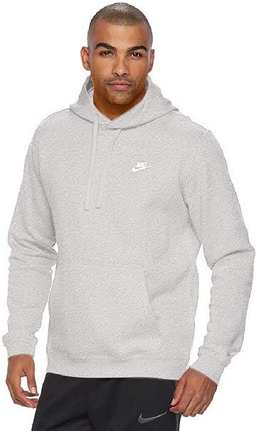 Nike Herren Hoody Sportswear FLC Club, Dark Grey HeatherDark Grey HeatherWhite, M, 804346 063