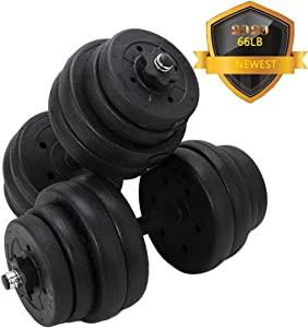 JOOYHOOM Adjustable 66LB Dumbbell Weights Set, Home Gym Barbell Plates,Barbell Lifting for Bodybuilding Training Workout, Solid with Strenthering Bars Non-Slip Weights Dumbbell Set 66 LB