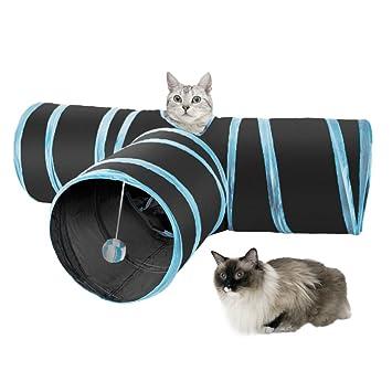 SlowTon Gato Túnel Juguete,3 Way Túnel de Gato Tubo de la Diversión Plegable Juguete Interactive Colector para Conejos Gatitos Cachorro Uso Interior y ...