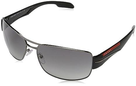 7275475e858 Image Unavailable. Image not available for. Colour  Prada Men s Gradient  Linea Rossa PS53NS-5AV3M1-65 Gunmetal Rectangle Sunglasses