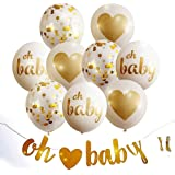 Baby Shower Decorations For Girl & Boy - 'Oh Baby' with Heart Banner & 9PCS Gold Balloons   Baby Birthday Party, Baby's Room, Nursery Room, Gender Reveal Party Decorations   Gift for Pregnant Woman