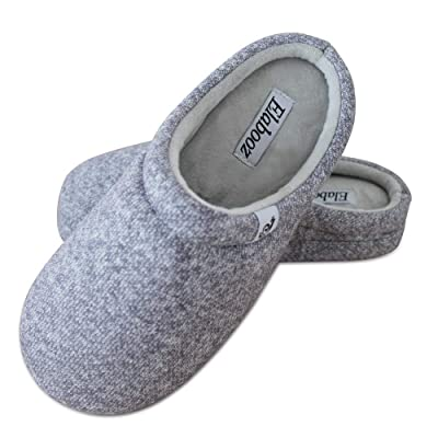 Elabooz Women's Comfort Slippers, Knitted Cotton Slippers Cozy Memory Foam Anti-Slip Rubber Sole Indoor Slippers | Slippers