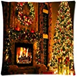 Fashionable Peaceful Christmas Eve Fireplace Queen Pillowcase Cotton Pillow Case Cover Standard 18x18 inch (one side)