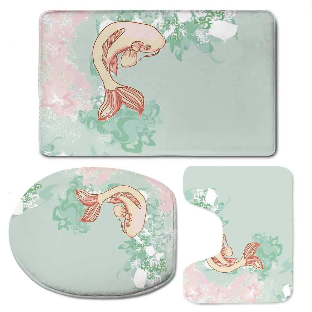 YOLIYANA Japanese Soft Bathroom 3 Piece Mat Set,Koi Longfin Gurnard Fish Swimming Pale Complex Customized Sea Backdrop Image for Home,F:20'' W x31 H,O:14'' Wx18 H,U:20'' Wx16 H