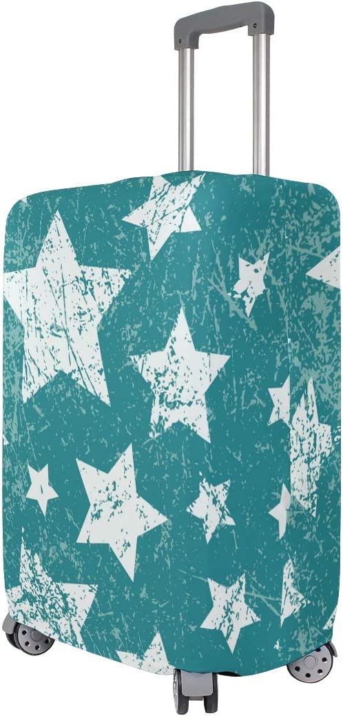 Baggage Covers Retro White Stars Green Background Washable Protective Case