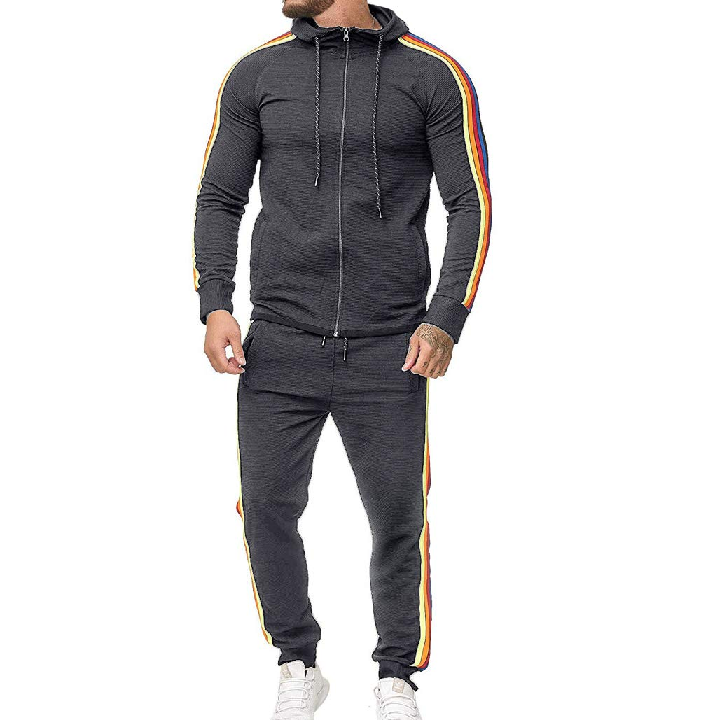 Men's Tracksuit Set Camouflage Sweatshirt Jogger Sweatpants Solid Patchwork Warm Sports Suit (Rainbow-Grey, XL) by lisenraIn