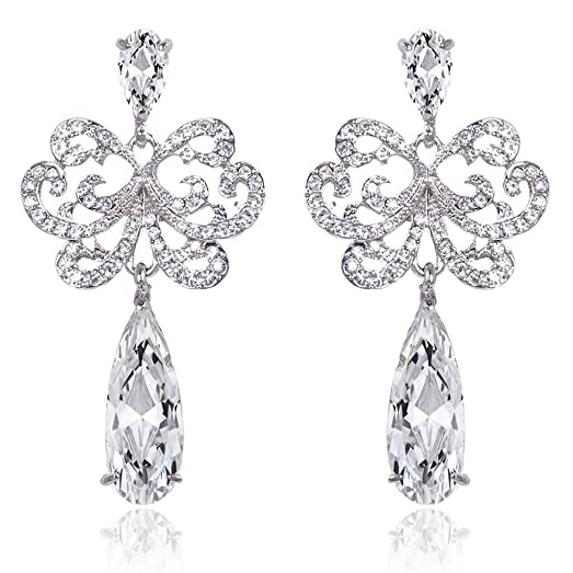 EVER FAITH® Austrian Crystal Gorgeous Floral Teardrop Engagement Dangle Earrings Silver-Tone 5FrTZOH7E
