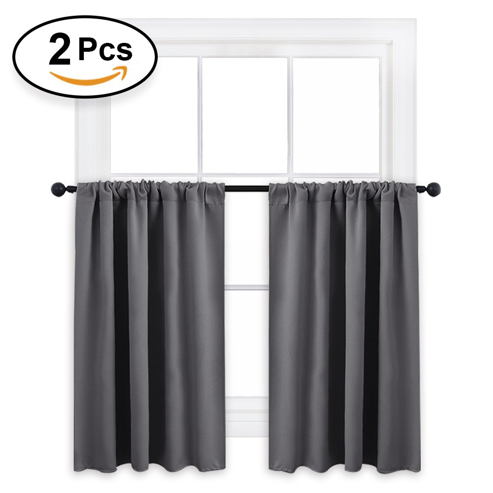 RYB HOME Grey Blackout Valances Curtain Panels Small Window Covering Curtain Tiers Short Blind Privacy Protect for Kitchen/Bathroom/Living Room, W 42'' x L 36'' per Panel, Gray, Set of 2