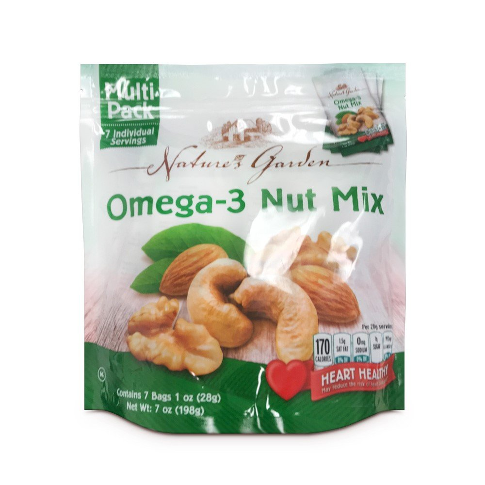 Natures Garden Omega-3 Nut Mix Heart Healthy Snack, 1 oz Bags (Pack of 7)