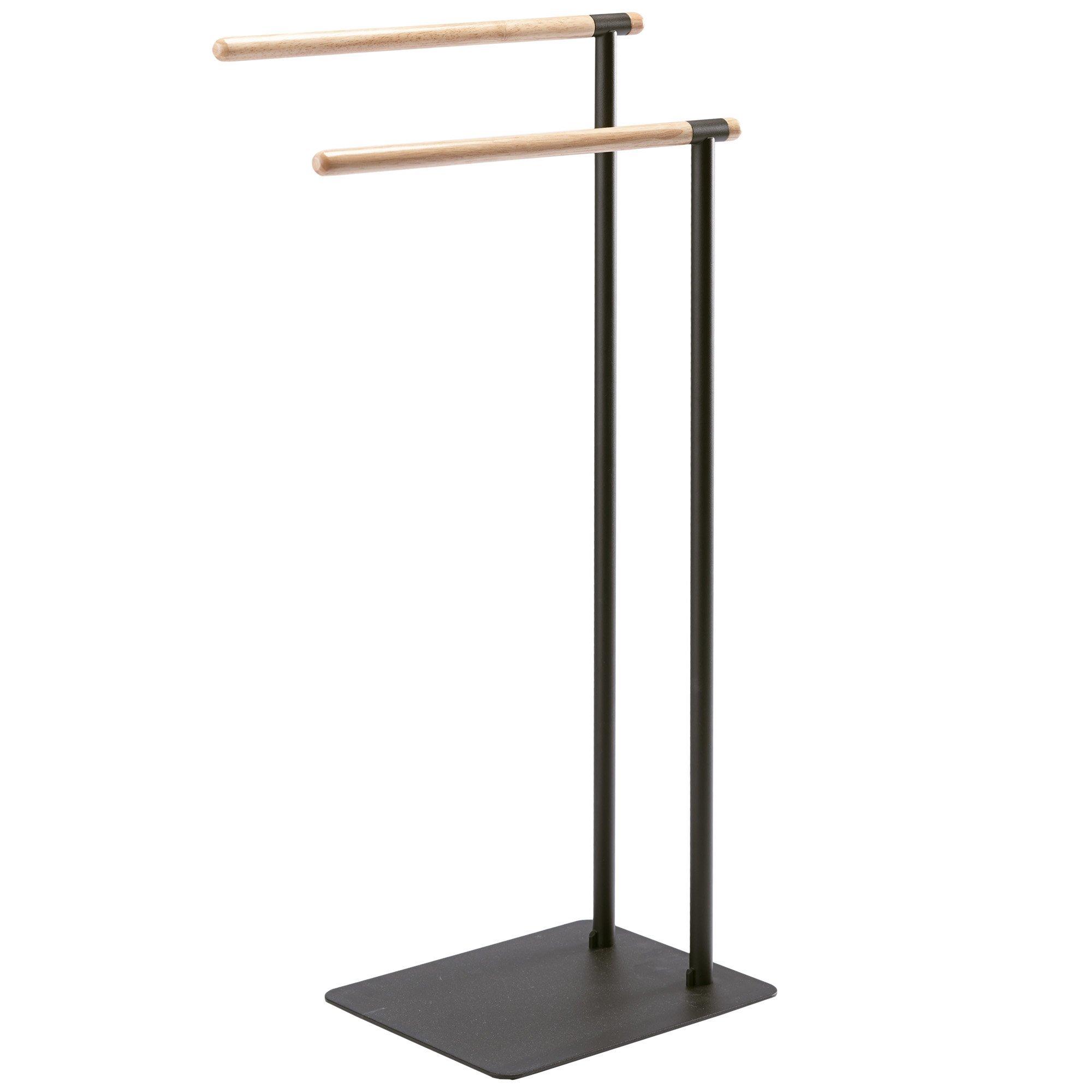 Nova Bath Collection Oscar Standing Double Towel Rack for Bathroom Spa Towel Hanger, Wood Rails (Black)