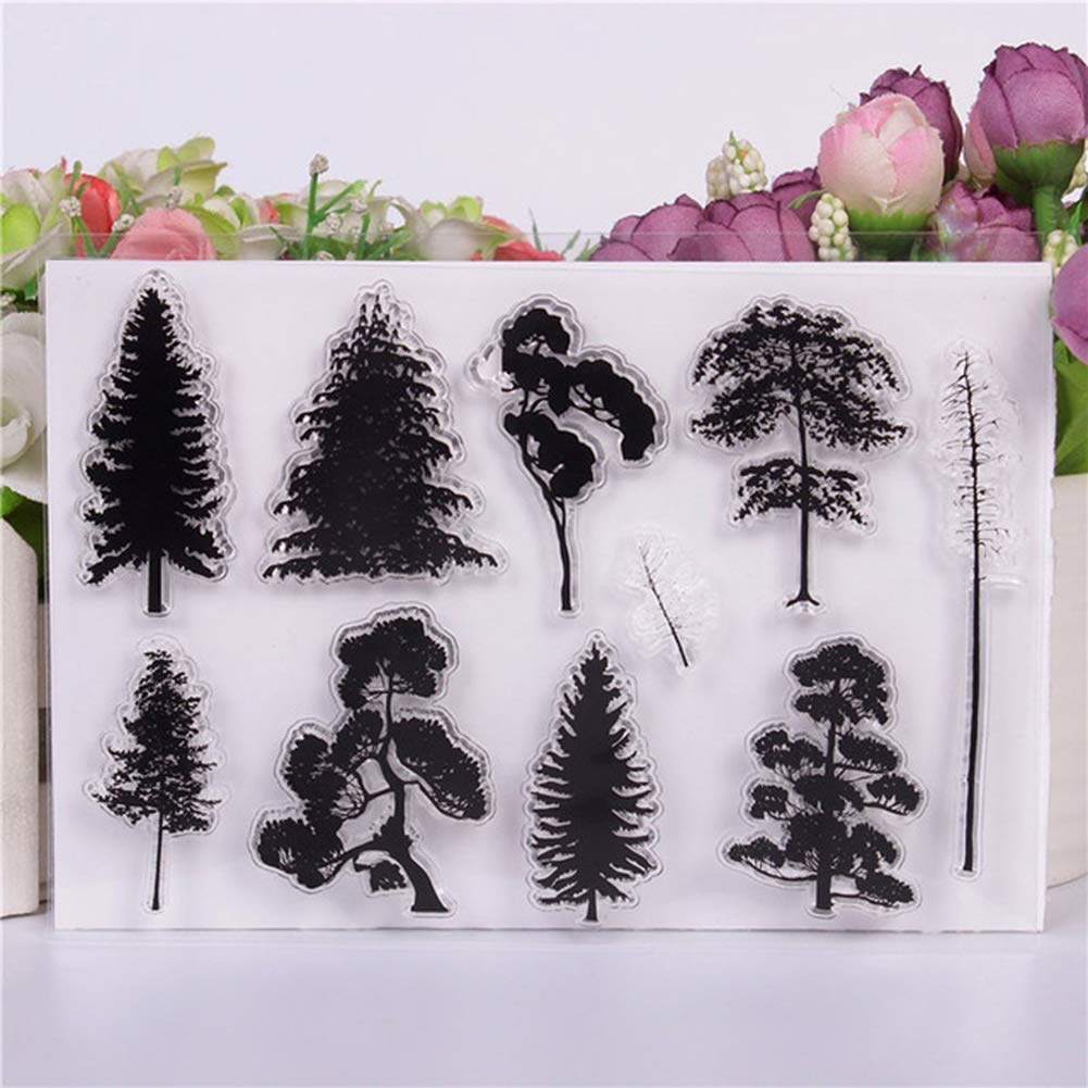 HEART SPEAKER DIY Clear Silicone Tree Forest Stamp Seal Scrapbooking Card Photo Album Decor