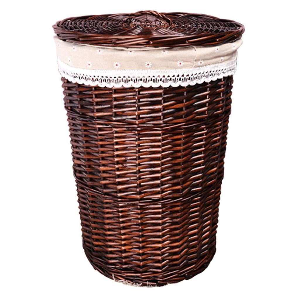 Covered-Brown 30cm34cm Dirty Clothes Storage Basket Bedroom Living Room Wicker Vine Garden Wind Weaving Storage Basket ZHANGQIANG (color   Covered-Beige, Size   42cm50cm)