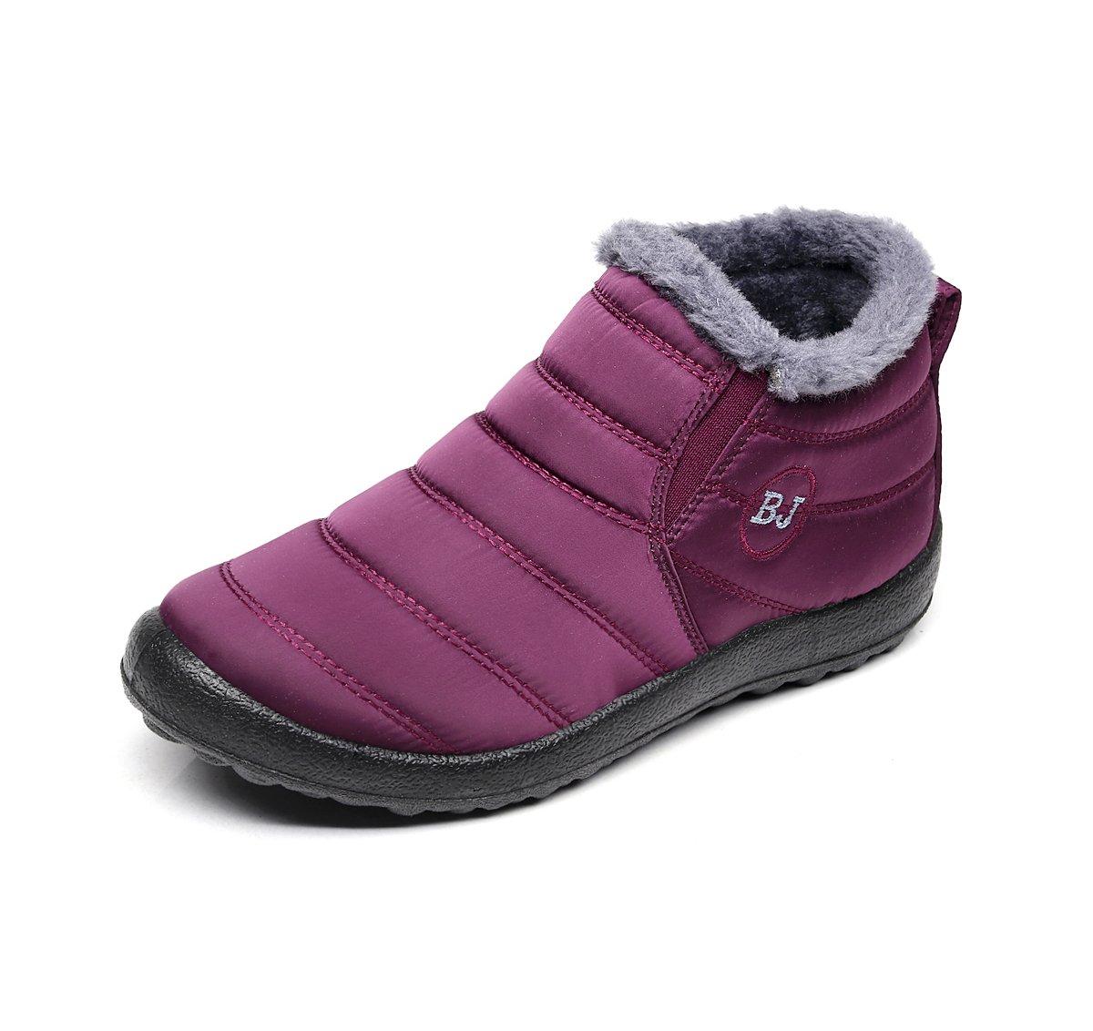 Chaussures Bottes Cheville de Neige avec Chaud Doublure Femme Hommes Cheville Hiver Boots Imperméable avec Epais Fourrure Bottine pour Hommes Femme Rouge 52a402e - conorscully.space