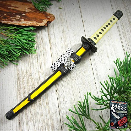 LETTER OPENER Yellow Mini Stainless Steel Blade Japanese Samurai Katana Sword + free eBook by ProTactical'US ()