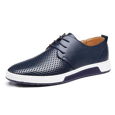 AARDIMI Herren Schnürhalbschuhe Leder Flache Schuhe für Männer Lederschuhe Business Anzugschuhe Zum Schnürer Flache Slipper für Party Hochzeit Übergrößen 37-48 (42, Blau)