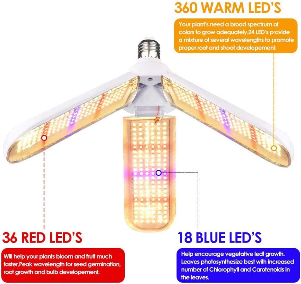 E27 150W /él/èvent la Lampe Plante Angle d/éclairage r/églable 414 LED Lampe de Croissance /à Spectre Complet pour Tous Les stades de Croissance des pi/èces Yissma LED Plante Lampe E26