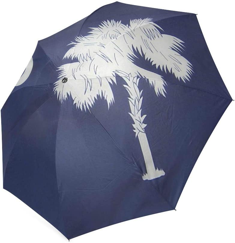 South Carolina State Flag Compact Foldable Rainproof Windproof Travel Umbrella