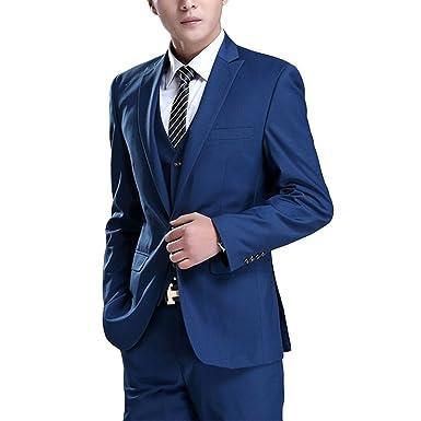 Newdeve Simple Design 3 Pieces Slim Fit Men Suits Blue at