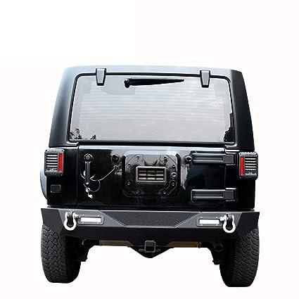 LEDKINGDOMUS Rear Bumper For 07 18 Jeep Wrangler Unlimited JK With 2x LED  Lights U0026