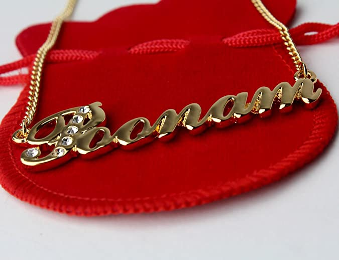 Indian Name Necklace Poonam White Gold Plated 18ct Personalised