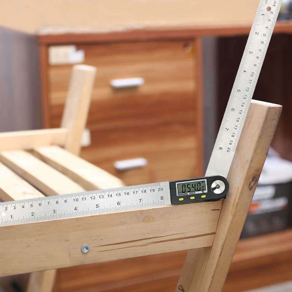 Transportador de angulos metal digital Regla,Roeam Medidor de /ángulo electrico para bicicletas coche carpintero con LCD