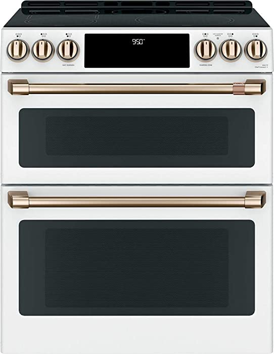 "Cafe 30"" Matte White Slide-In Double Oven Induction Range"