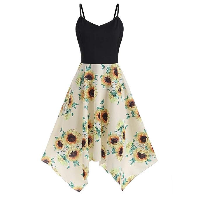 FEITONG Womens Plus Size Dresses Sunflower Print Sleeveless ...
