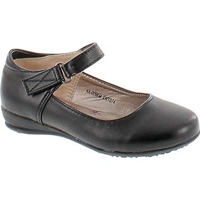 c71ba4bc02416a KK 009KM Little Girls Ballerina Buckle School Shoes Black 10
