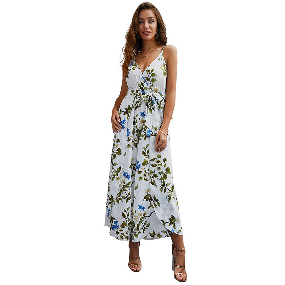 Desirepath Women Jumpsuits and Rompers Sexy Floral Printed V Neck Spaghetti Strap Spilt Wide Leg Pants White